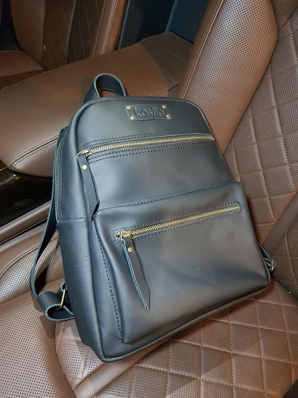 купить черный кожаный рюкзак
